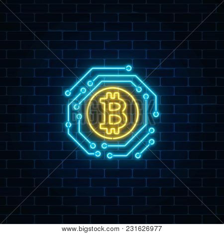 Neon Bitcoin Currency Sign With Electronic Circuit. Cryptocurrency Emblem On Dark Brick Wall Backgro