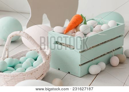 White Easter Eggs In Painted Wooden Box.