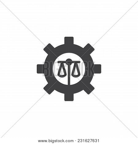 Scales Of Justice And Cogwheel Vector Icon. Filled Flat Sign For Mobile Concept And Web Design. Bala