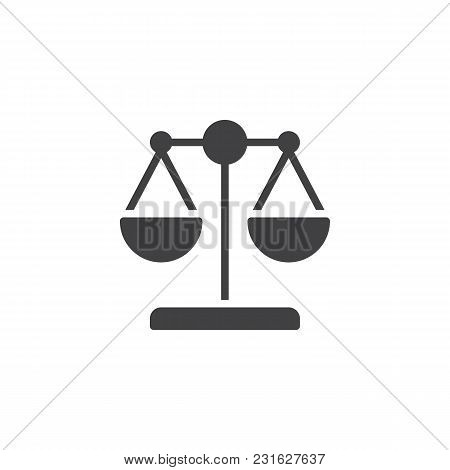 Law Scale Vector Icon. Filled Flat Sign For Mobile Concept And Web Design. Libra Simple Solid Icon.