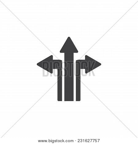 Three Way Direction Arrows Vector Icon. Filled Flat Sign For Mobile Concept And Web Design. Road Dir