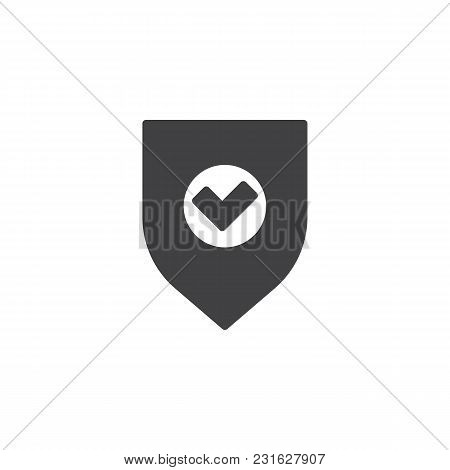 Shield And Check Mark Vector Icon. Filled Flat Sign For Mobile Concept And Web Design. Secure, Shiel