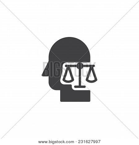 Scale Balance In Human Head Vector Icon. Filled Flat Sign For Mobile Concept And Web Design. Making
