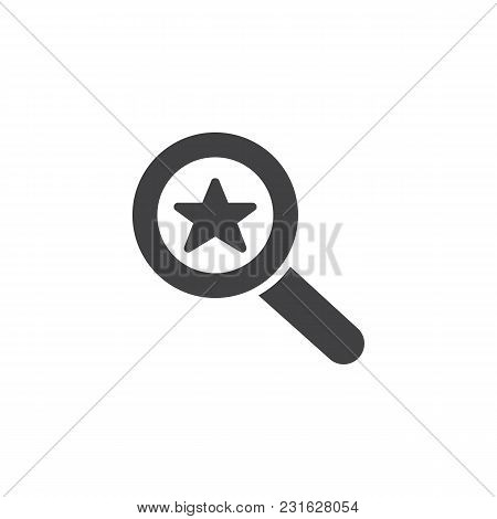 Magnifier Glass With Star Vector Icon. Filled Flat Sign For Mobile Concept And Web Design. Favorite,