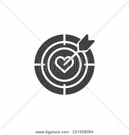 Heart Target Aim With Arrow Vector Icon. Filled Flat Sign For Mobile Concept And Web Design. Dart Hi