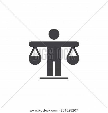 Man Is Holding The Scales Vector Icon. Filled Flat Sign For Mobile Concept And Web Design. Efficienc