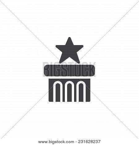 Star On Podium Vector Icon. Filled Flat Sign For Mobile Concept And Web Design. Award Star Winner On