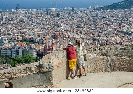 Father And Son Contemplate The City Of Barcelona From The Carmel On June, 2016