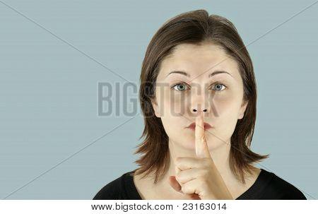 Pale Skin Woman Hush On Blue