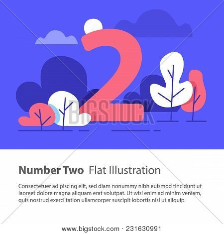 Number Two, Top Chart Concept, Sequential Number, Night Sky, Park Trees, Vector Flat Design, Minimal