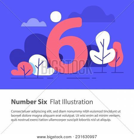 Number Six, Top Chart Concept, Sequential Number, Night Sky, Park Trees, Vector Flat Design, Minimal