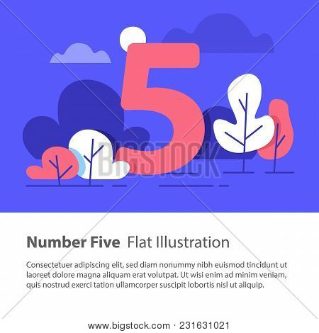 Number Five, Top Chart Concept, Sequential Number, Night Sky, Park Trees, Vector Flat Design, Minima
