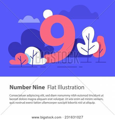Number Nine, Top Chart Concept, Sequential Number, Night Sky, Park Trees, Vector Flat Design, Minima