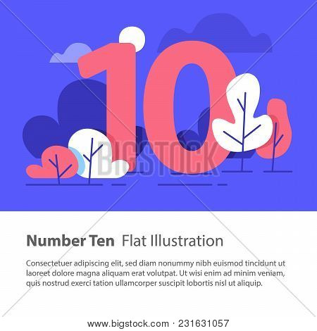 Number Ten, Top Chart Concept, Sequential Number, Decade, Night Sky, Park Trees, Vector Flat Design,