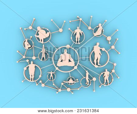 Social Media Network. Growth Background With Lines, Circles And Integrate Athlete Silhouettes. Conne