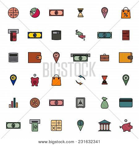 Set Of Colored Financial Icons Of Thin Lines. Flat Style, Vector Illustration.