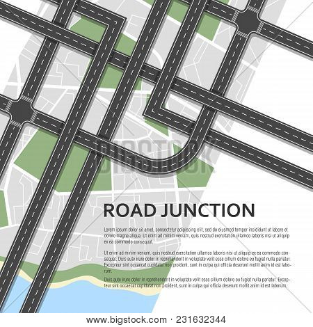 Complex Road Junction On A Map Background. Place For Text. Top View. Vector Illustration.