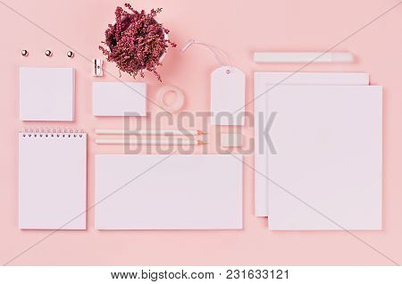 White Branding Stationery, Mock Up Scene On Light Soft Pastel Pink Background, Blank Objects For Pla