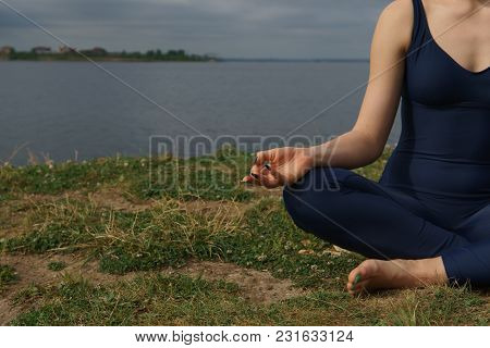Close Up Hands. Woman Do Yoga Outdoor. Concept Yoga