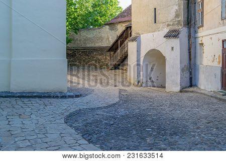 Old Medieval Church Yard In Medias, Romania.