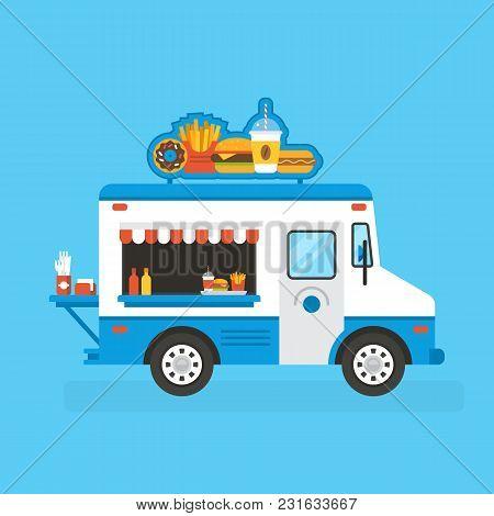 Fast Food Selling Street Truck. Vector Illustration