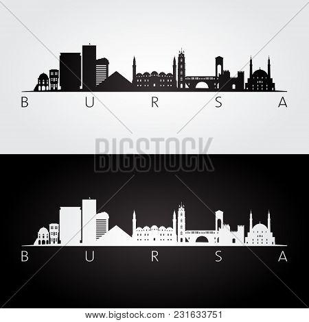 Bursa Skyline And Landmarks Silhouette, Black And White Design, Vector Illustration.