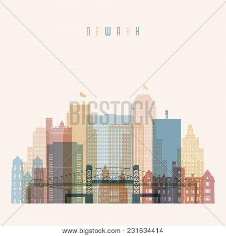 Newark State New York, Skyline Detailed Silhouette. Transparent Style. Trendy Vector Illustration.