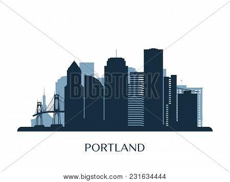 Portland Skyline, Monochrome Silhouette. Design Vector Illustration.