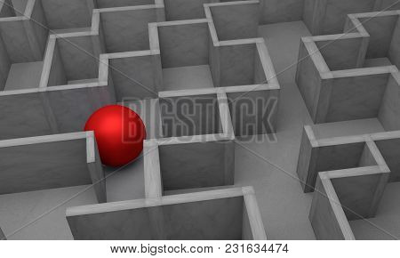 Red Ball And Complex Problem Solving Concept, 3d Rendering.