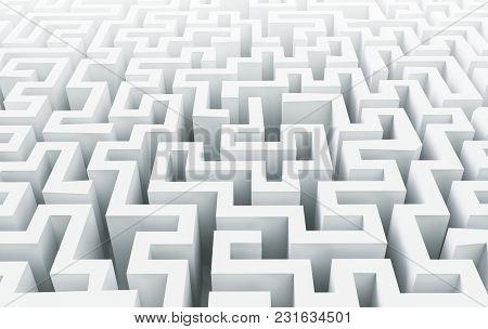 White Complex Maze Background, Solution Concept. 3d Rendering