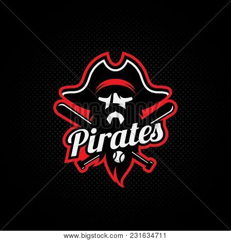 Pirate Mascot For A Baseball Team On A Dark Background. Vector Illustration.