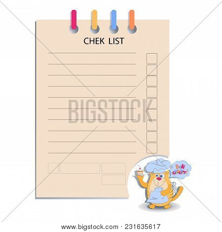 Chek List And The Cat With A Cupcake. Design For Messages, Infromation For Customers, Decorated Menu
