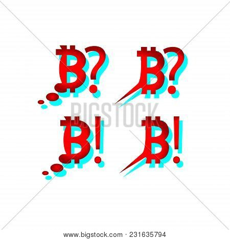 What Happens To Bitcoin. Speech Bubble Icons Bitcoin Set. Depreciation Falling Price Of Red Bitcoin.