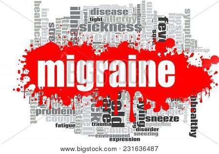 Migraine Word Cloud Design. Creative Illustration Of Idea Word Lettering Typography . 3d Rendering.