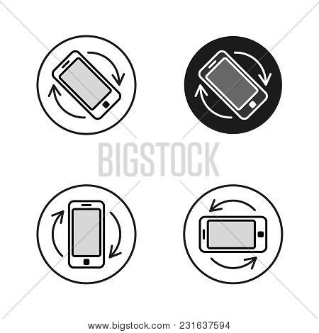 Phone Rotate Symbols Set. Smartphone Rotation Black And White Line Style Icons. Phone Tilt Vertical