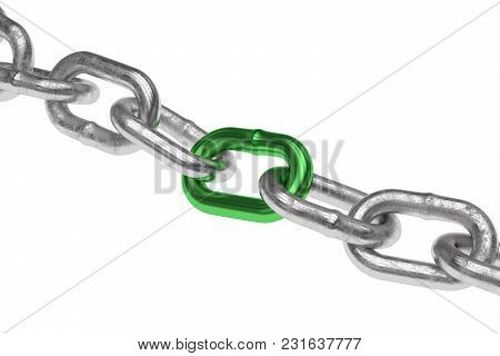 3d Rendering Chain Chrome Green Steel Teamwork Connection.