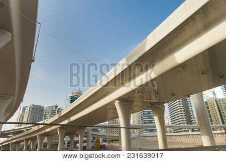Dubai, Uae February 20, 2018: Overpass Road Junction. View From The Road From Below