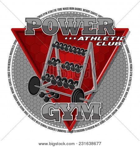 Emblem Of The Gym. Sports Equipment On The Background Of A Red Triangle. Background, Text And Equipm