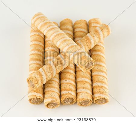 Crispy Flour Sticks With Sweet Stuffed Lined On A White Background