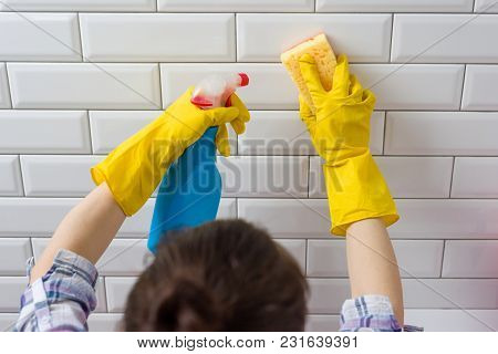 House Cleaning. Woman Doing Chores In Bathroom At Home.