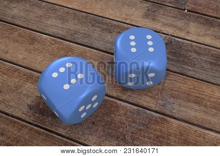 Dices On Wooden Background On Six, 3d Rendering.