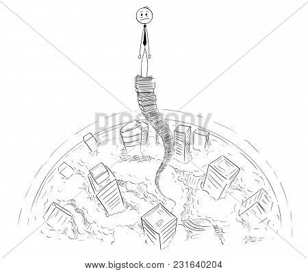 Cartoon Stick Man Drawing Conceptual Illustration Of Frustrated Businessman Standing On Top Of Sky H
