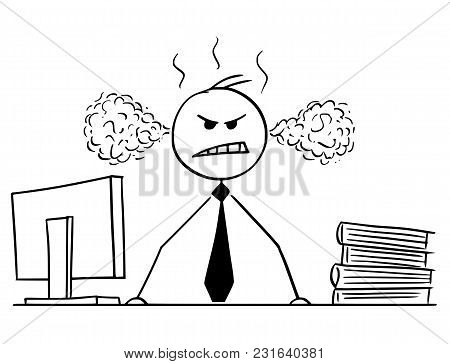 Cartoon Stick Man Drawing Conceptual Illustration Of Businessman Or Manager Standing Angry Behind Hi