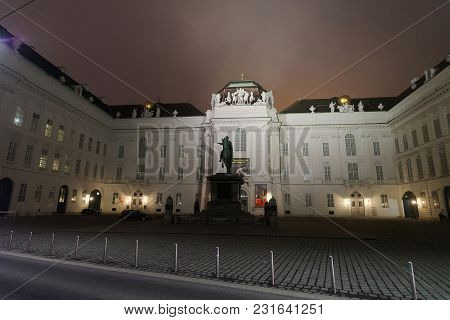 Vienna, Austria - January 8, 2014: Hofburg Palace At Vienna, Austria. At Mist And In The Evening