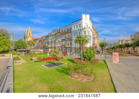 Braga, Portugal - August 12, 2017: Praca Da Republica Known As Arcade Crossing Avenida Da Liberdade
