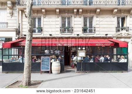Paris, France-march 11, 2018: The Traditional Parisian Bistro Chez Margot Situated In Front Of Barra