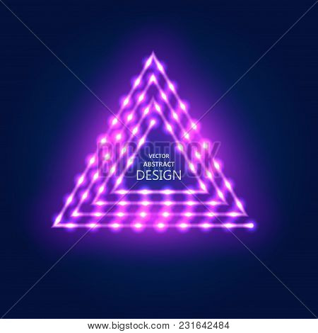 Neon Violet Sign With Led Illumination In Retro Style. The Shining Billboard With The Place For The