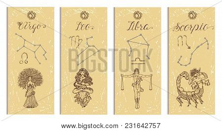 Set With Leo, Virgo, Libra And Scorpio Zodiac Symbols Banners On Texture. Hand Drawn Vector Illustra