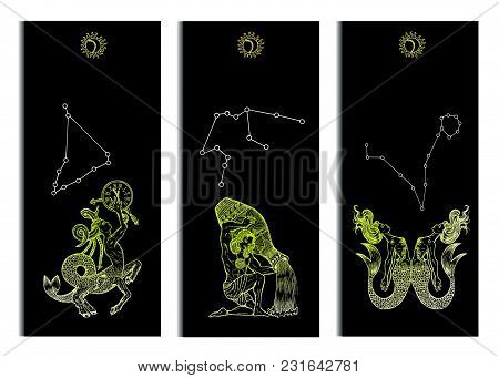 Set With Capricorn, Aquarius And Pisces Zodiac Symbols Banners On Black. Hand Drawn Vector Illustrat