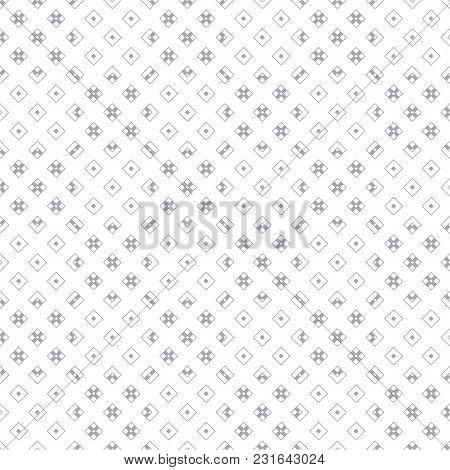 Vector Seamless Pattern. Minimalist Simple Geometrical Texture. Repeating Rhombuses, Corners, Crosse